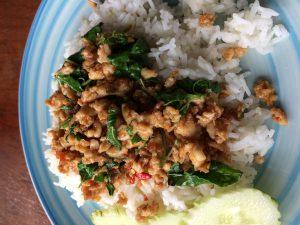 Chicken mit Thaibasilikum auf Reis